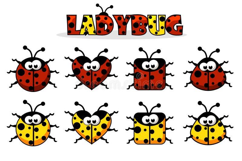 Fije el artoon diversa mariquita roja y amarilla de las formas Animales e insectos stock de ilustración