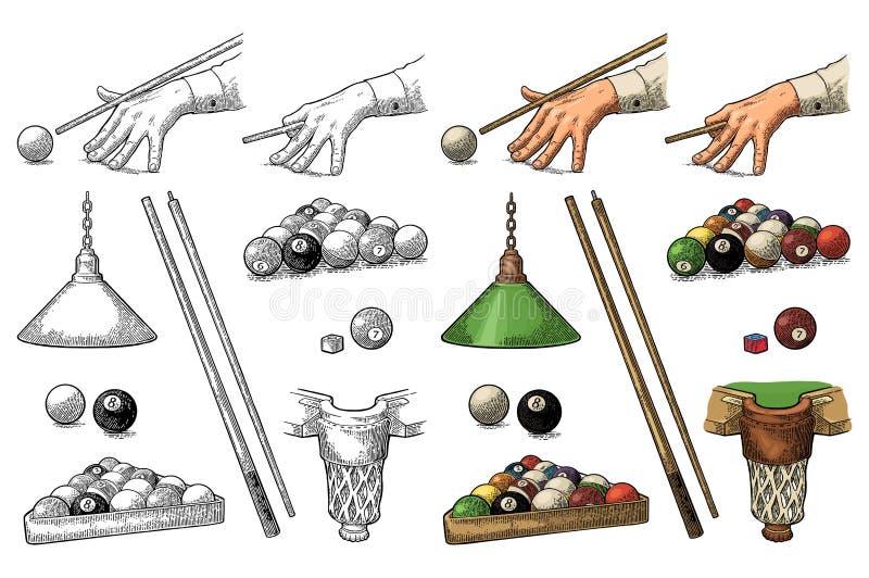 Fije el billar Palillo, bolas, tiza, bolsillo y lámpara Grabado negro del vintage ilustración del vector