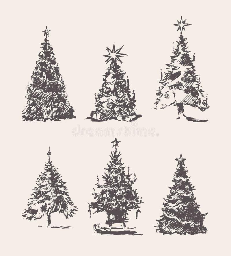 Fije el bosquejo exhausto del vector del vintage de los árboles de navidad libre illustration