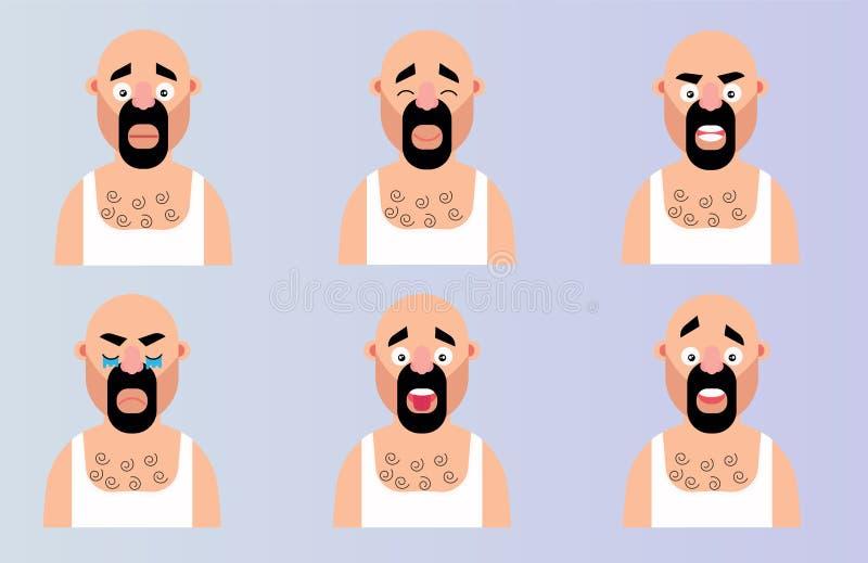 Fije el carácter del hombre de la historieta de la emoción de la cara Cabeza barbuda del ejemplo plano del vector con diverso dis libre illustration