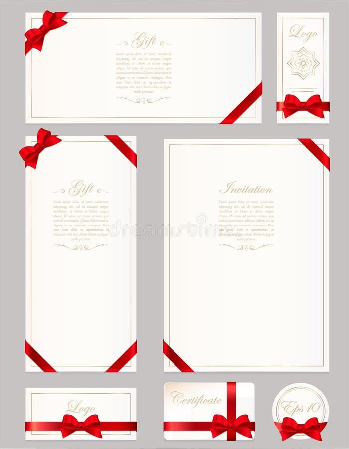 Fije el carte cadeaux, el certificado y el vale en fondo gris Arco ancho del regalo con el marco rojo de la cinta y del espacio p libre illustration