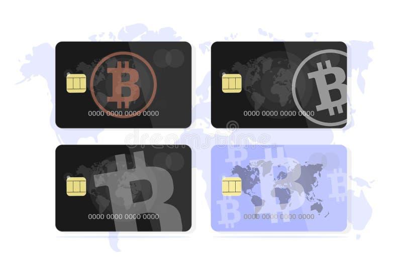 Fije el concepto de un bitcoin de la tarjeta de banco ilustración del vector