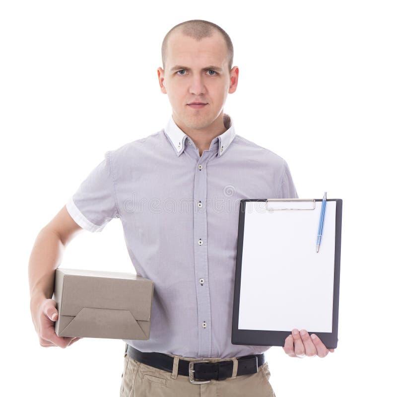 Fije el concepto del servicio de entrega - hombre joven que sostiene el tablero y fotos de archivo libres de regalías