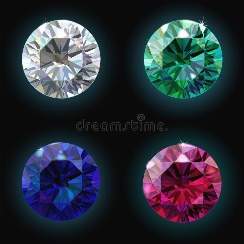 Fije el diamante de rubíes de la esmeralda del zafiro Vector stock de ilustración