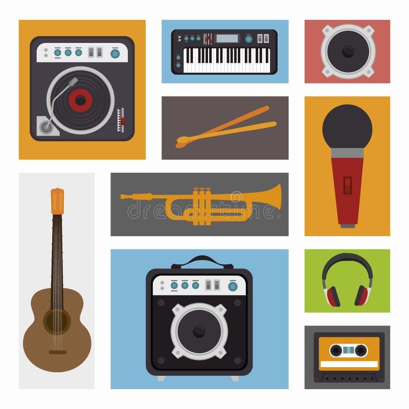 fije el diseño aislado los dispositivos del icono de la industria musical ilustración del vector