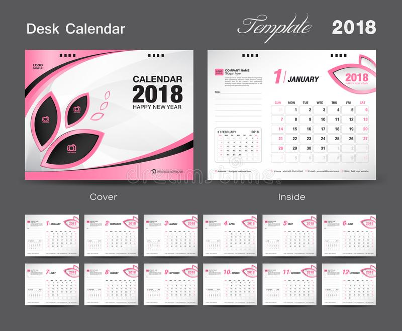 Fije el diseño 2018, cubierta de la plantilla del calendario de escritorio del rosa, sistema de 12 meses stock de ilustración