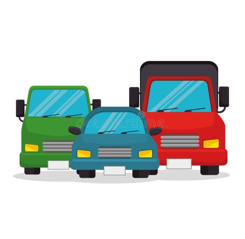 Fije el diseño de los iconos del transporte de los vehículos ilustración del vector