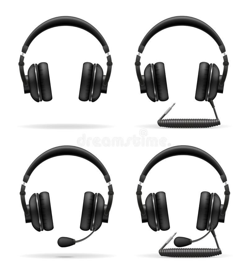 Fije el ejemplo acústico del vector de los auriculares de los iconos ilustración del vector