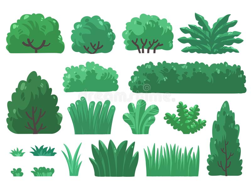 Fije el ejemplo de árboles y de arbustos en estilo mínimo imagenes de archivo