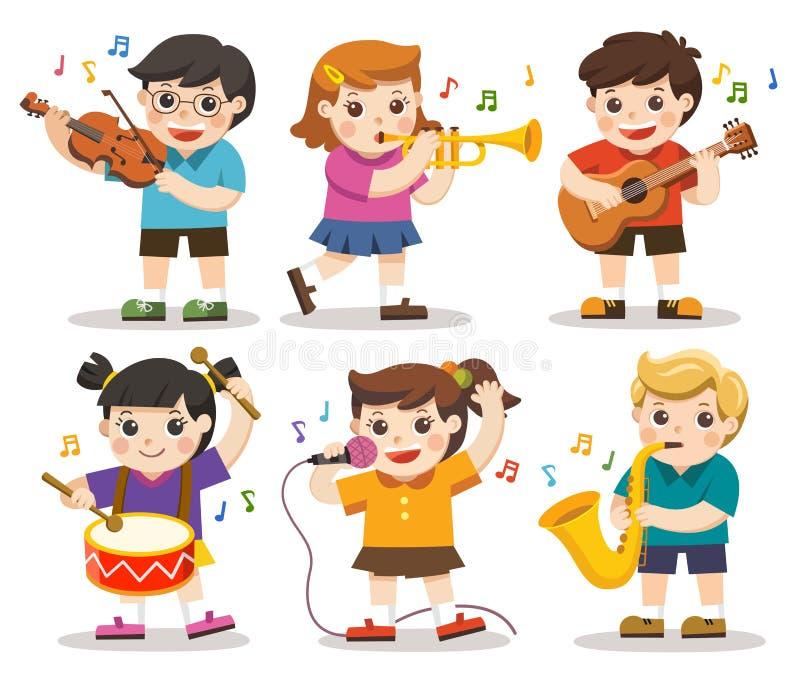 Fije el ejemplo de los niños que tocan los instrumentos musicales stock de ilustración
