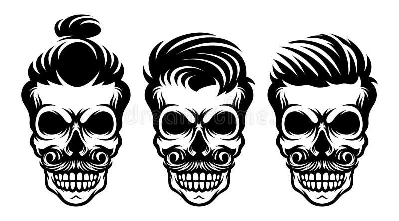 Fije el ejemplo del peinado del cráneo de la barbería stock de ilustración