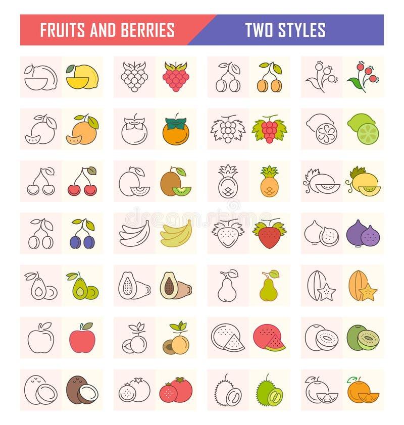 Fije el ejemplo del vector de frutas y de bayas en Backgroun blanco ilustración del vector