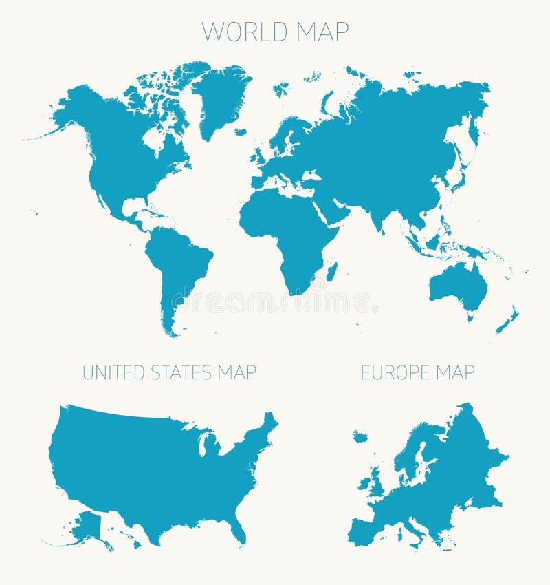 Fije el ejemplo del vector del mapa de Europa del americano del mundo ilustración del vector