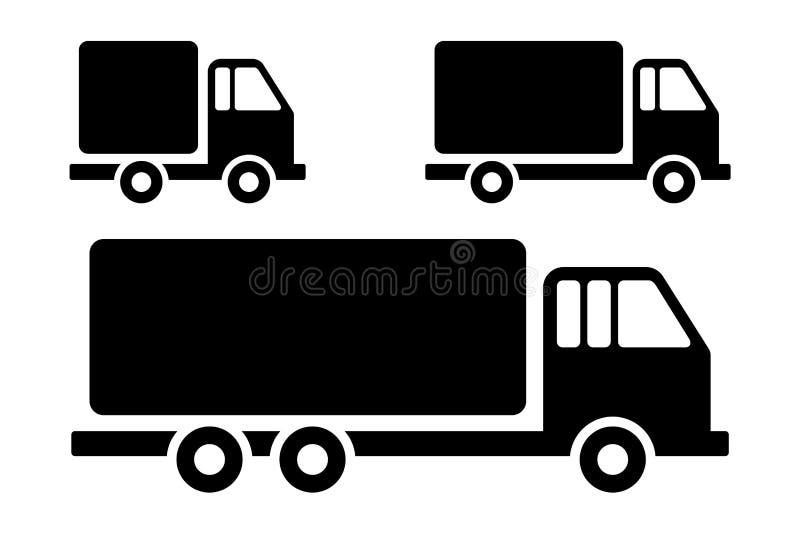Fije el ejemplo plano del estilo del camión de reparto de la silueta para la muestra simple del icono del vector del web, del móv ilustración del vector