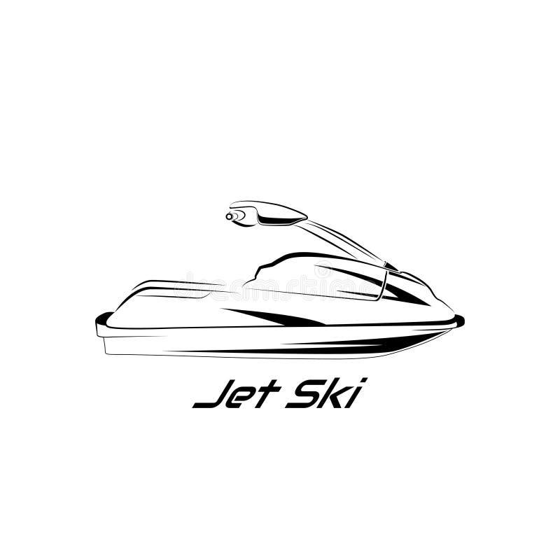 Fije el esquí del jet, vespa stock de ilustración