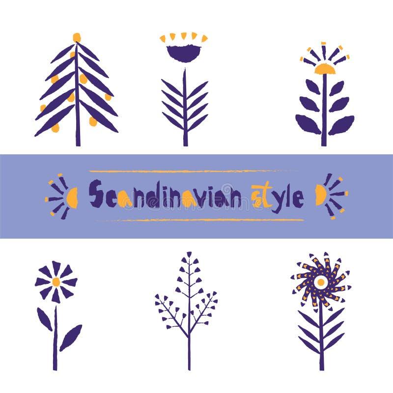 Fije el estampado de plores en el estilo escandinavo, stylization del borde de papel rasgado Plantilla hermosa para el diseño de  stock de ilustración