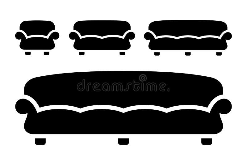 Fije el estilo plano del sofá de la silueta para el web, el móvil, la muestra simple del icono del vector del uso y del diseño gr stock de ilustración