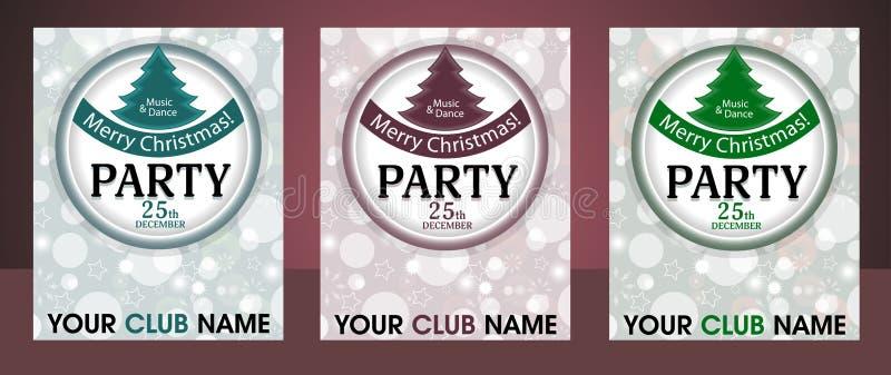 Fije el fondo de la invitación de la fiesta de Navidad de la plantilla con el círculo y el piel-árbol Vector libre illustration