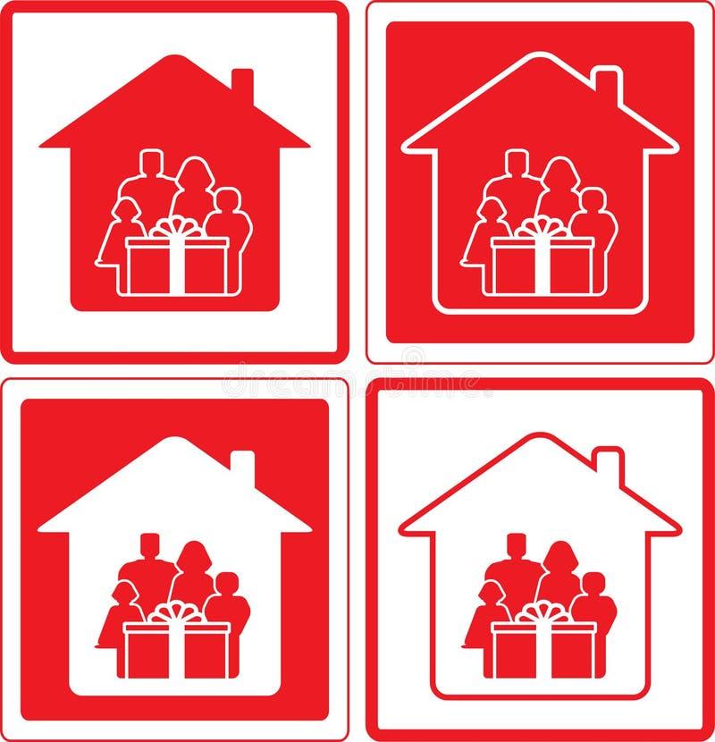 Fije el icono con la familia y el regalo libre illustration