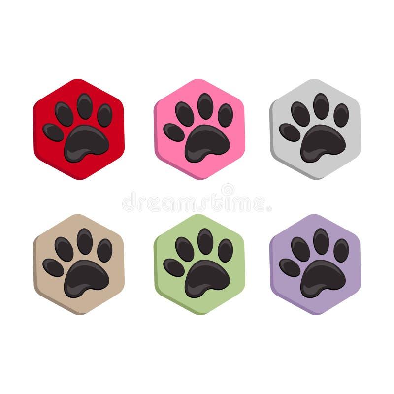 Fije el icono de la forma del hexágono del vector con los animales Iconos de la pata del gato aislados huella animal hexagonal libre illustration