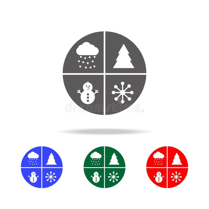 fije el icono de las etiquetas engomadas de la Navidad del bebé Elementos de los días de fiesta de la Navidad en iconos coloreado stock de ilustración