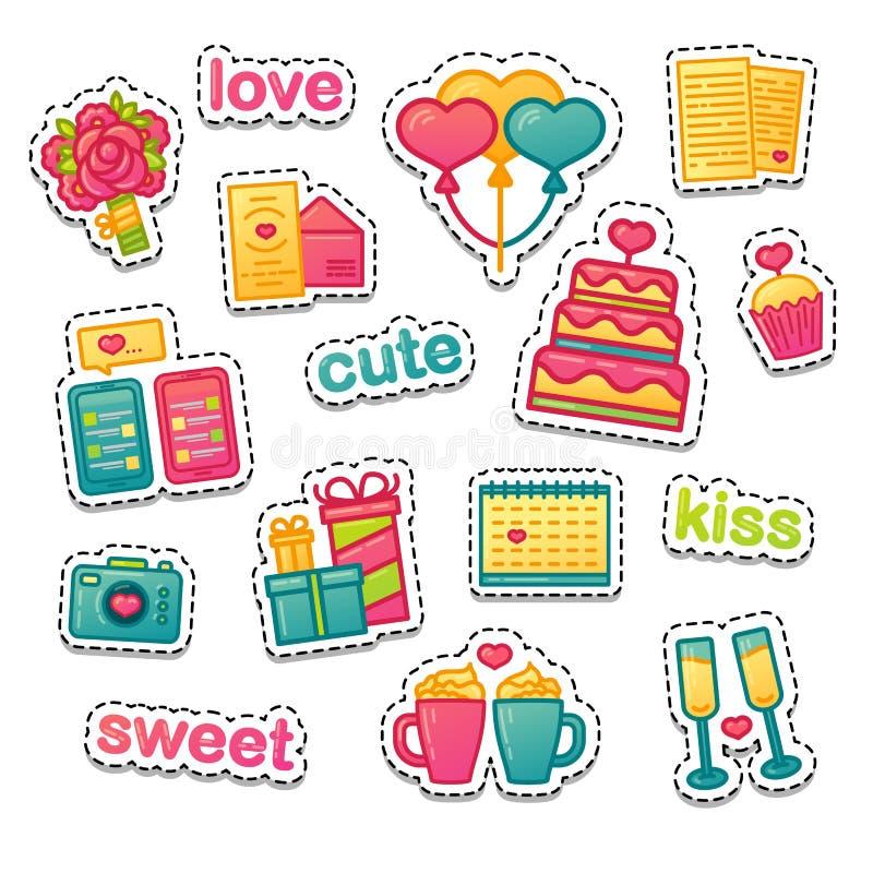 Fije el icono del diseño del color para el día del ` s del valnetine El símbolo romance con la torta, el corazón, la flor y los p ilustración del vector
