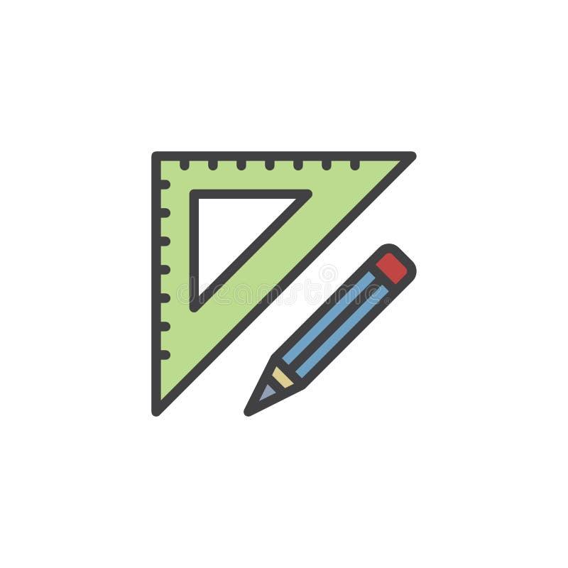 Fije el icono llenado del esquema del cuadrado ilustración del vector