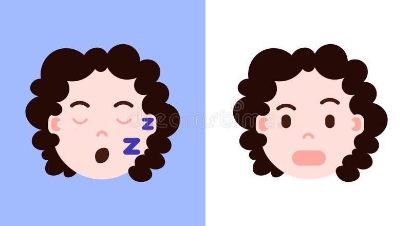 Fije el icono principal con emociones faciales, carácter del avatar, sllep del personaje del emoji de la muchacha de la muchacha  ilustración del vector