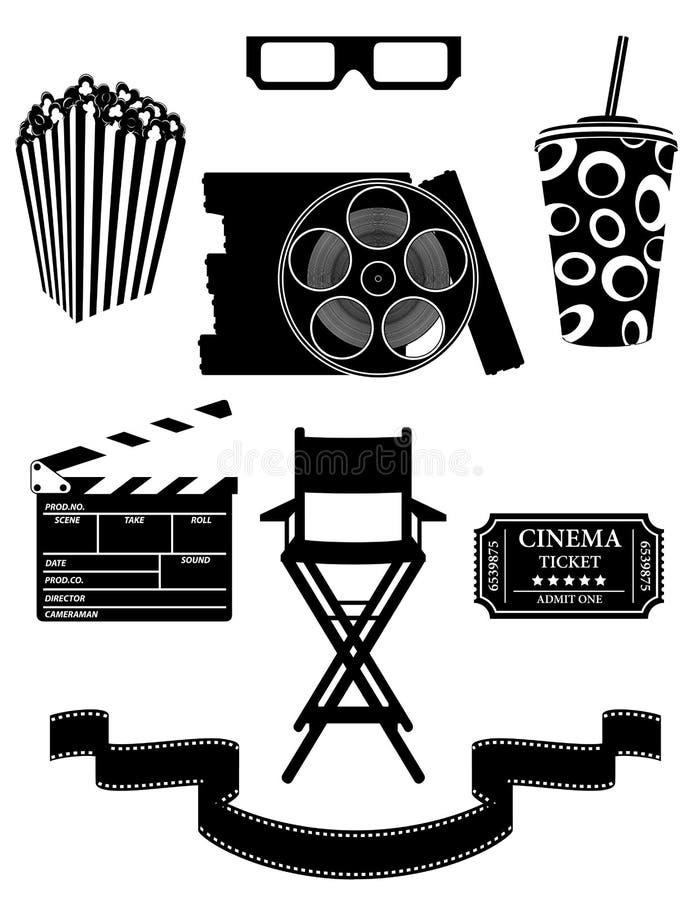Fije el illustrat negro del vector de la acción del esquema de la silueta de los iconos del cine stock de ilustración