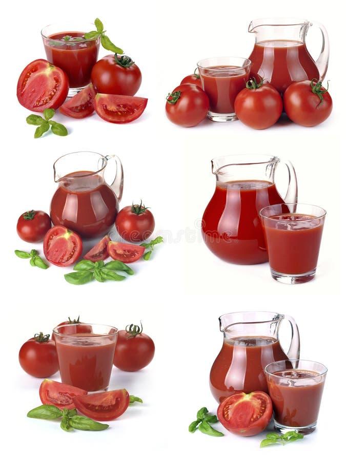 Fije el jarro, el vidrio de jugo de tomate y las frutas fotografía de archivo