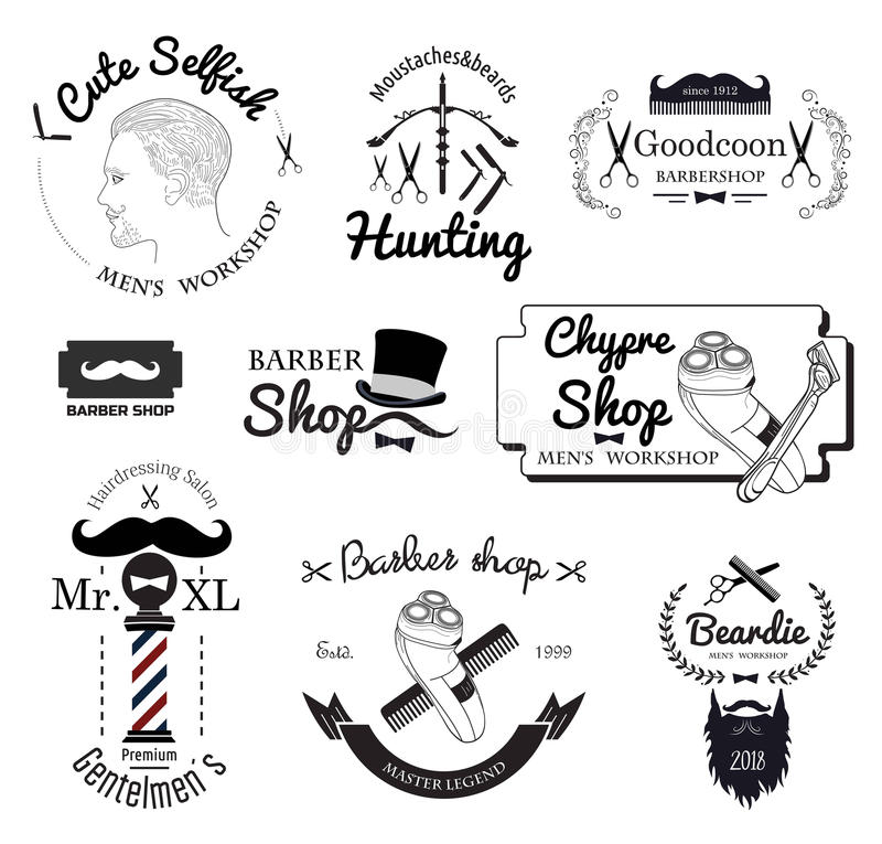 Fije el logotipo de la peluquería de caballeros, las etiquetas, las insignias y el elemento del diseño stock de ilustración