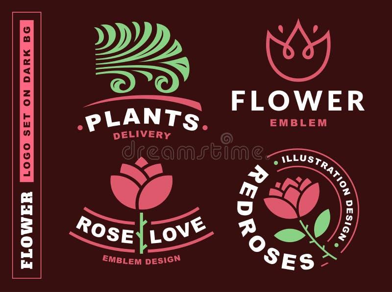 Fije el logotipo de las flores - vector el ejemplo, emblema en fondo rojo oscuro ilustración del vector