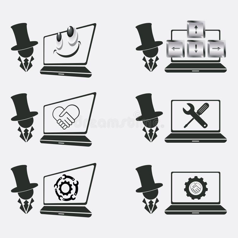 Fije el logotipo para la reparación del ordenador stock de ilustración