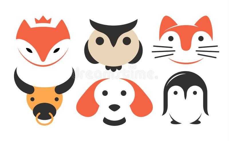 Fije el logotipo plano animal - vector el ejemplo, emblema en el fondo blanco stock de ilustración