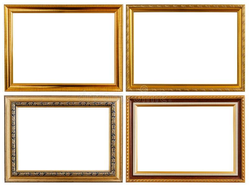 Fije el marco de madera de la foto del vintage del oro aislado en blanco Ingenio ahorrado imagenes de archivo