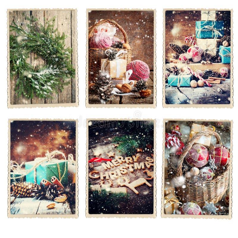 Fije el marco retro de la foto de diversas tarjetas de la Navidad imagen de archivo