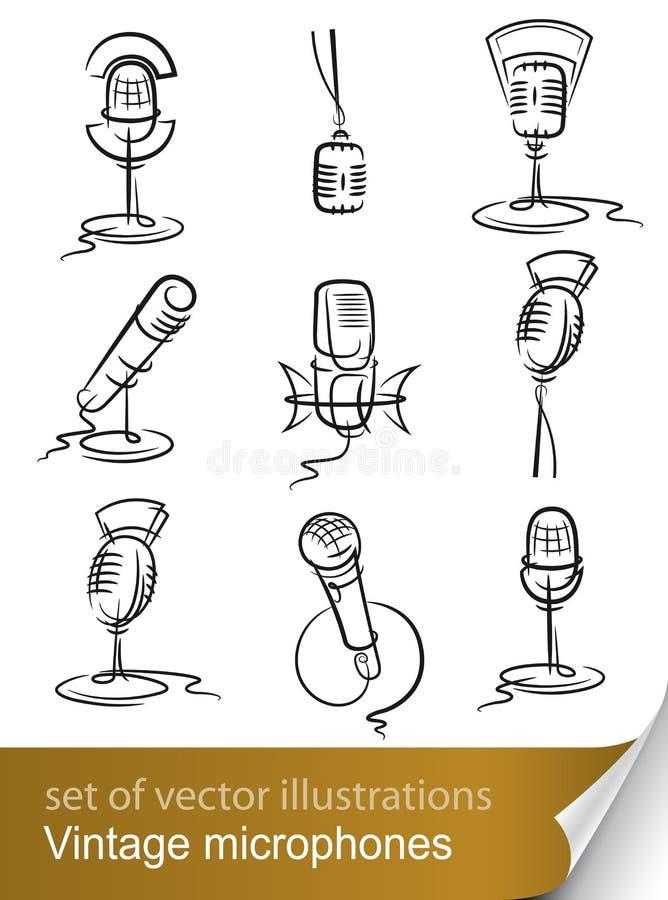 Fije el micrófono de la vendimia stock de ilustración