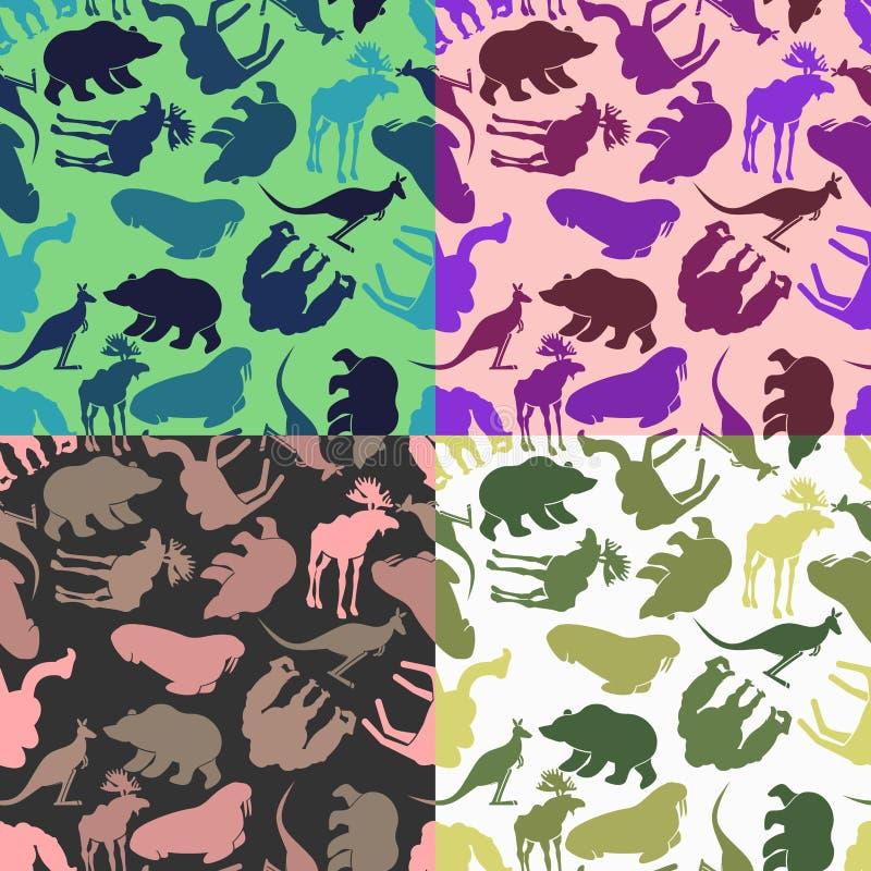 Fije el modelo animal Opciones del color de los ornamentos de animales salvajes ilustración del vector