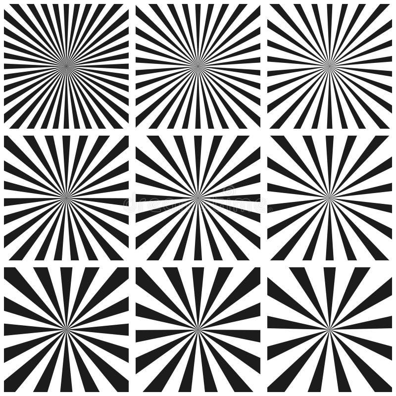 Fije el modelo del rayo ligero, Sun estallan el modelo retro, plantilla del vector, fondo del arte pop, salida del sol circular d ilustración del vector