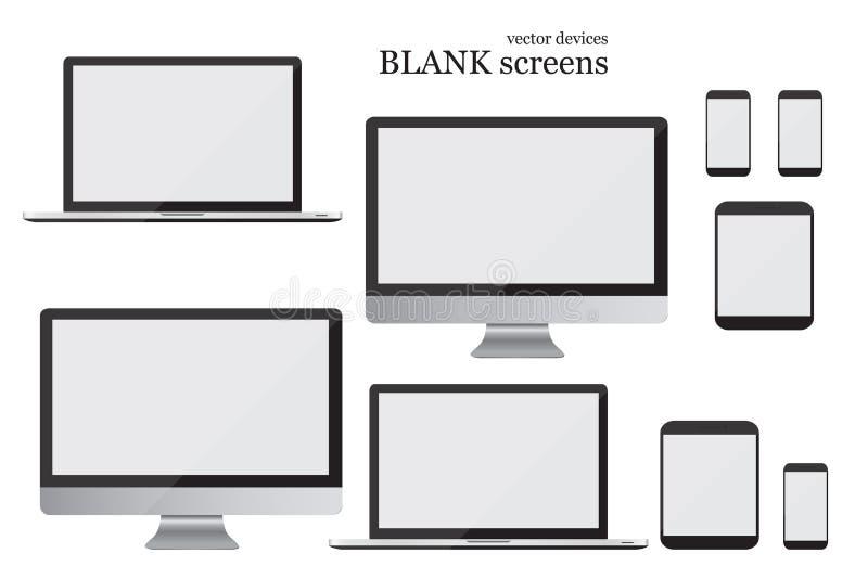 Fije el monitor, el ordenador portátil, la tableta y el teléfono móvil Pantallas en blanco Ilustración EPS10 del vector stock de ilustración