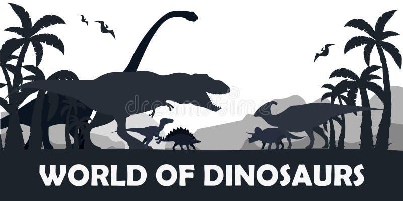 Fije el mundo de dinosaurios Mundo prehistórico T-rex, Diplodocus, Velociraptor, Parasaurolophus, Stegosaurus, Triceratops cretác stock de ilustración