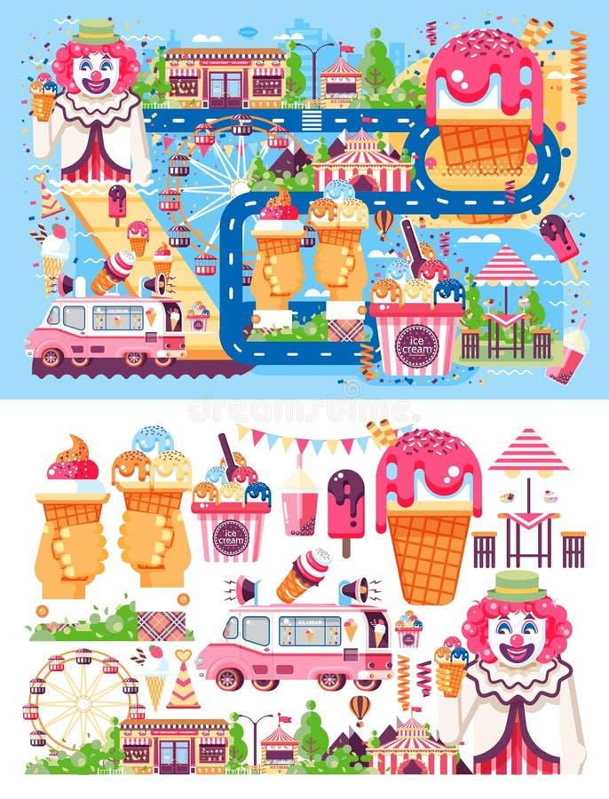 Fije el negocio del ejemplo del vector que vende la comida de la venta del helado de los diferentes tipos con la máquina, comida  stock de ilustración