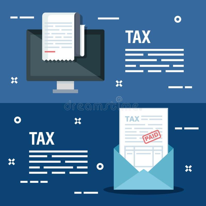 Fije el ordenador con informe y la tarjeta de la factura de las finanzas ilustración del vector