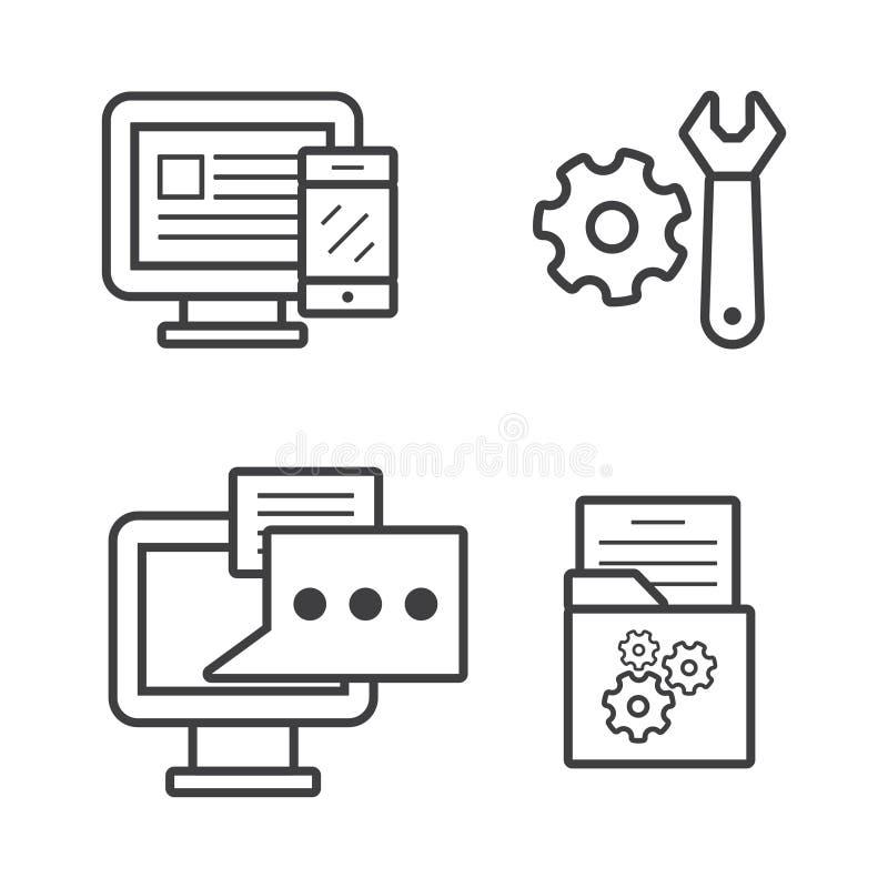 Fije el ordenador con los engranajes y el vector del icono de la charla del bulbo en la línea estilo para el web, el gráfico y el ilustración del vector