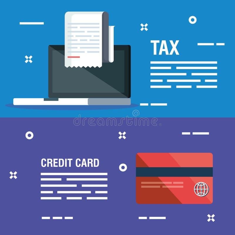 Fije el ordenador portátil con la factura del informe y la tarjeta de crédito libre illustration