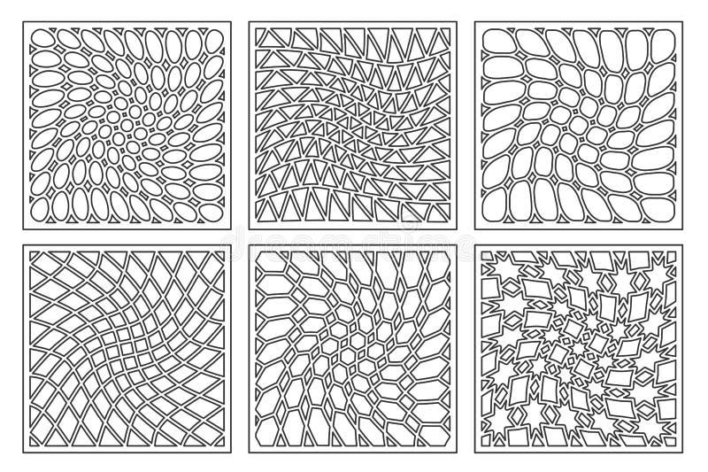 Fije el ornamento geométrico del modelo Tarjeta para el corte del laser Diseño decorativo del elemento Modelo geométrico ilustración del vector