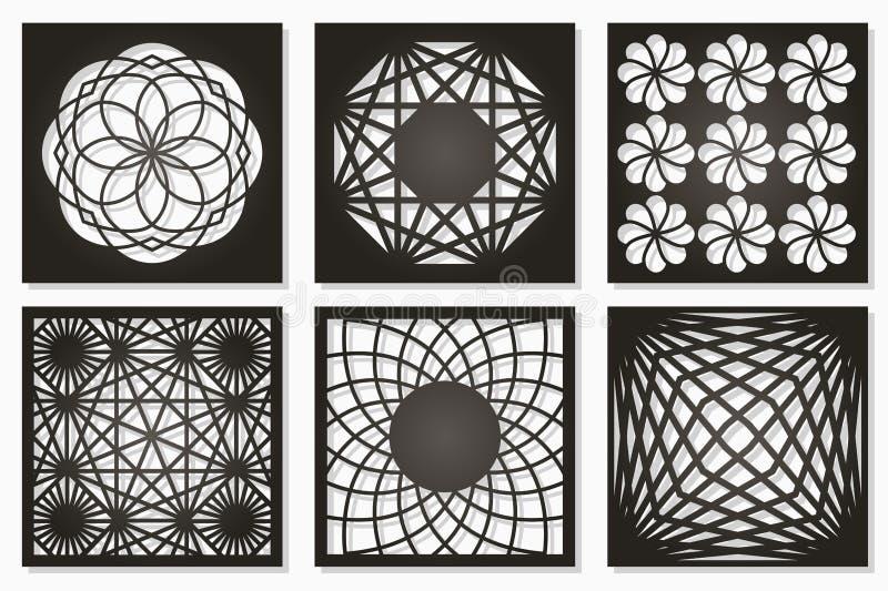 Fije el ornamento geométrico del modelo Tarjeta para el corte del laser Diseño decorativo del elemento Modelo geométrico stock de ilustración