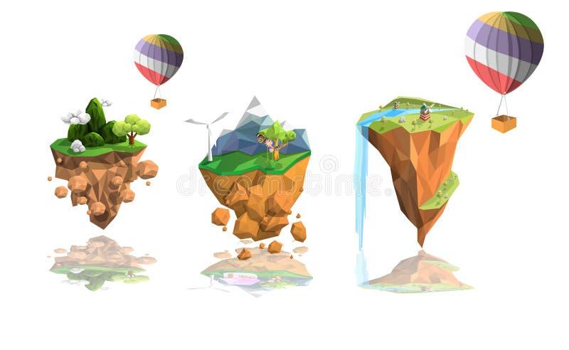 Fije el paisaje bajo del polígono de la isla stock de ilustración