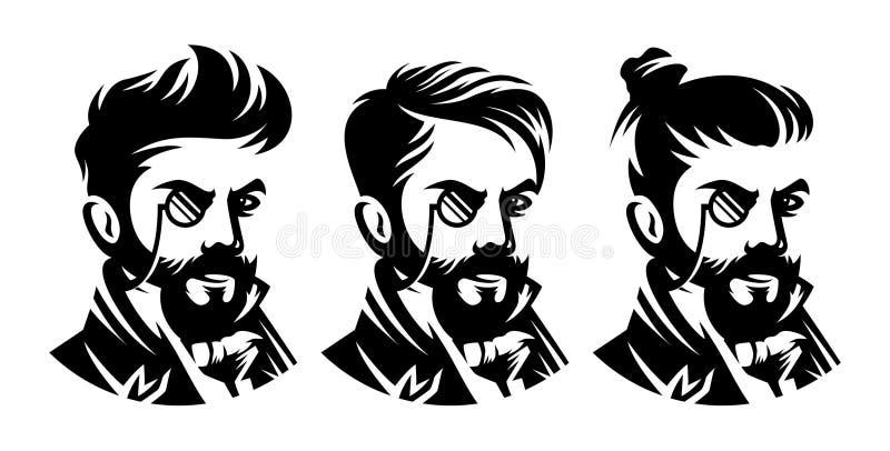 Fije el peinado del victorian de la barbería, ejemplo del corte de pelo libre illustration