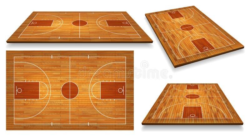 Fije el piso de la cancha de básquet de la perspectiva con la línea en el fondo de madera de la textura Ilustración del vector stock de ilustración
